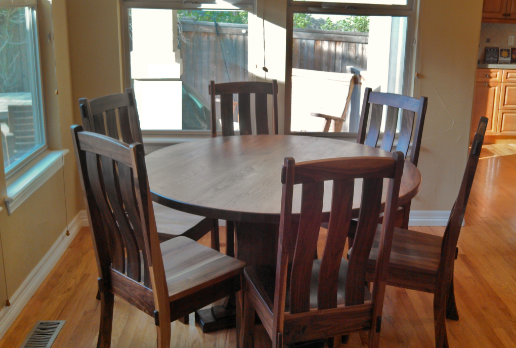 "Solid Walnut ""Craftsman"" Round Pedestal Table"
