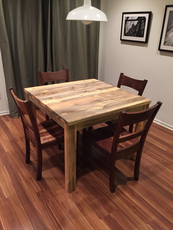 "Solid Beetlekill ""Prairie"" Square Table with Straight Aprons, Square Legs, Minimal Overhangs"