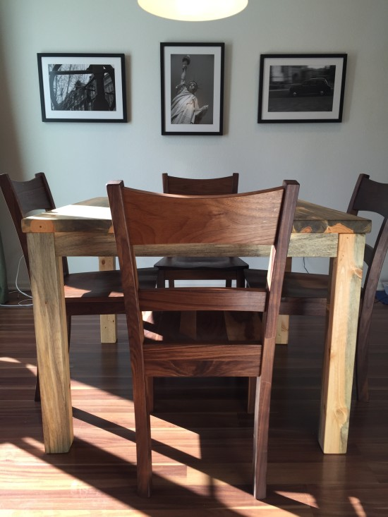 """Solid Beetlekill """"Prairie"""" Square Table with Straight Aprons, Square Legs, Minimal Overhangs"""