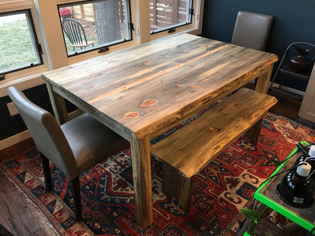 "Solid Beetlekill ""Prairie"" Table with Straight Aprons, Square Legs, LiveEdge"