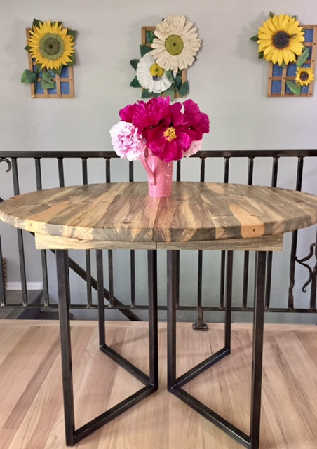 "Solid Beetlekill ""Flatiron"" Table with Leaves on Steel V-Shape Bases"
