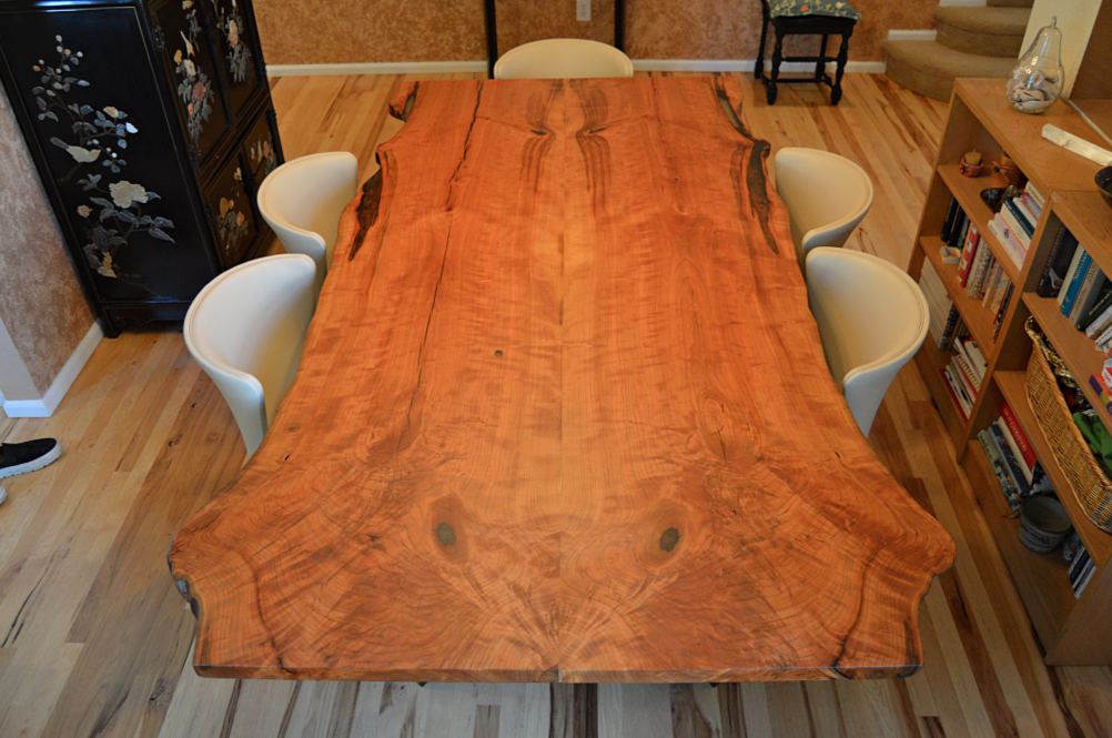 "Solid Cherry ""Flatiron"" LiveEdge Bookmatch Table on C-Shape Legs"