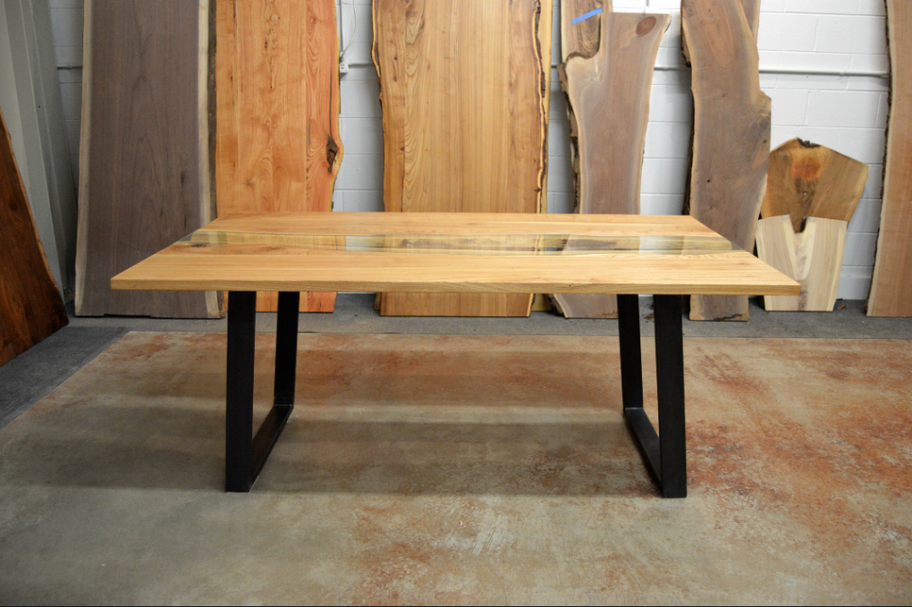 "Solid Elm ""Flatiron"" LiveEdge Creek Table on Angled Steel Tube Legs"