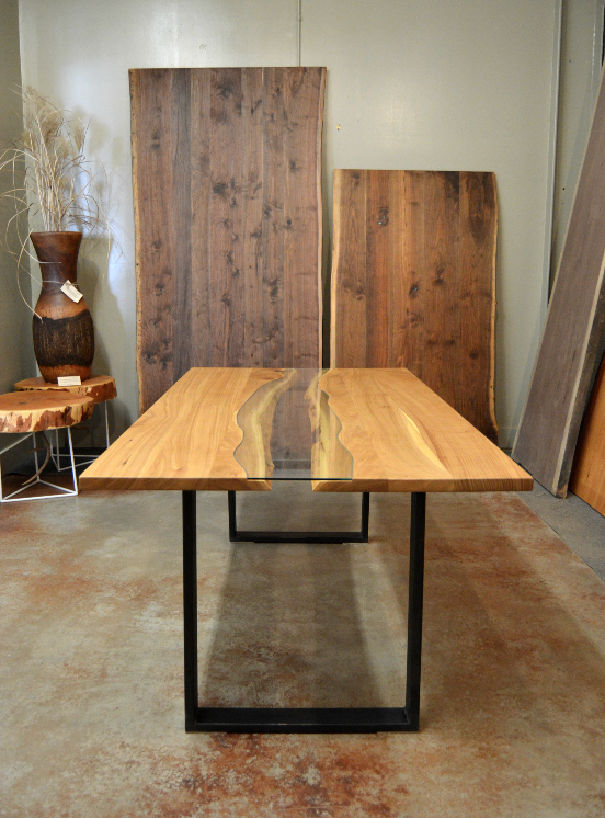 LiveEdge Elm, Steel & Glass CNC Table
