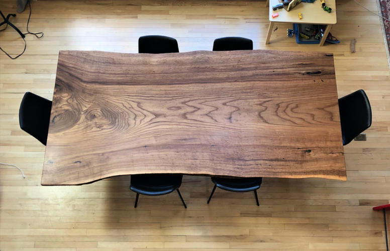 "Solid English Elm ""Flatiron"" Table"