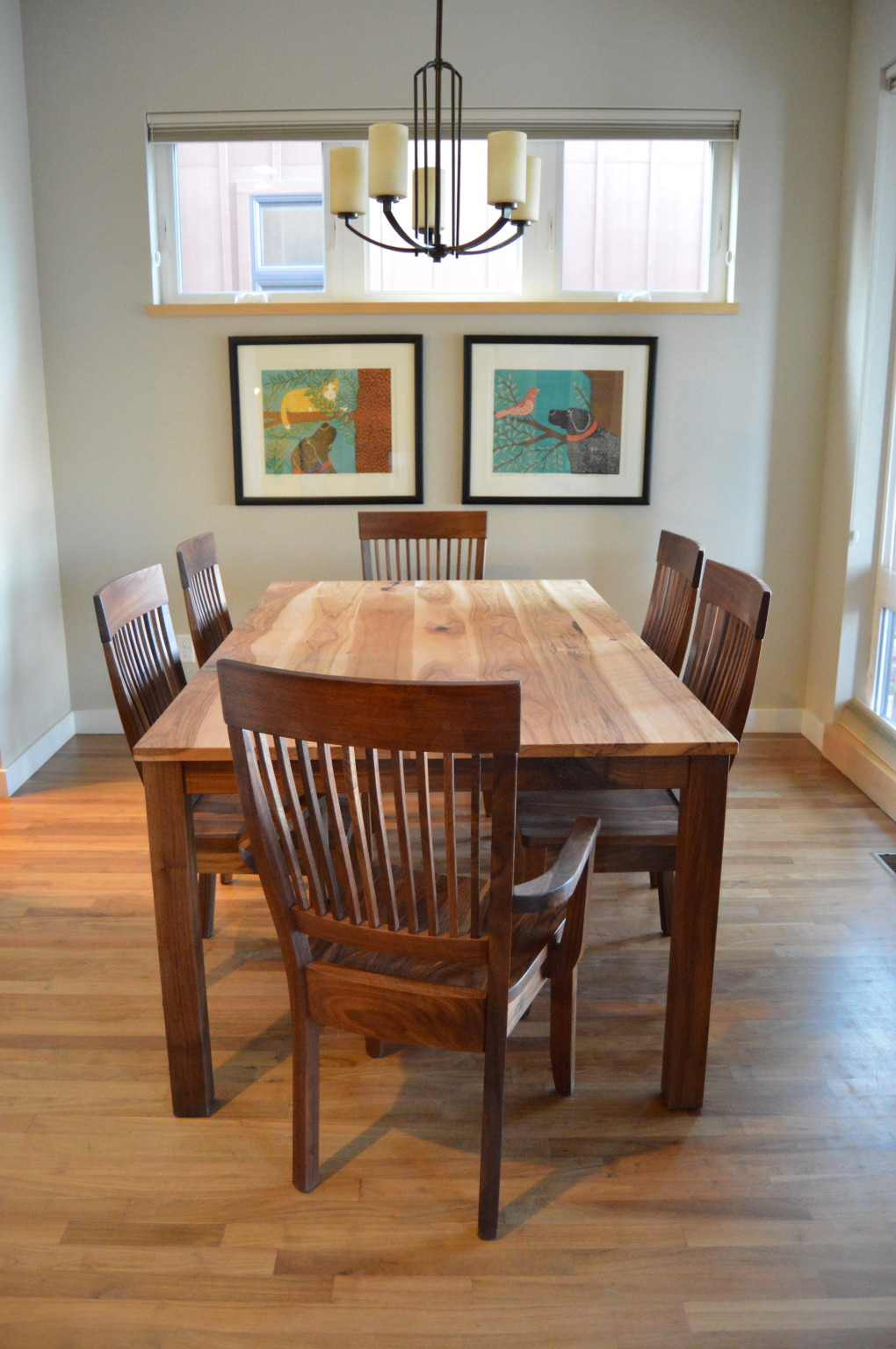 "Solid Hickory + Walnut ""Prairie"" Table with Straight Aprons + Square Legs, Minimal Overhang"