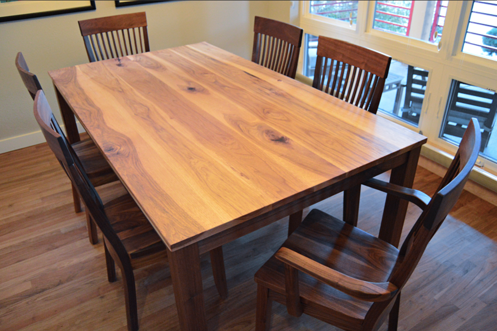 "Solid Hickory + Walnut ""Prairie"" Table with Straight Aprons + Square Legs"