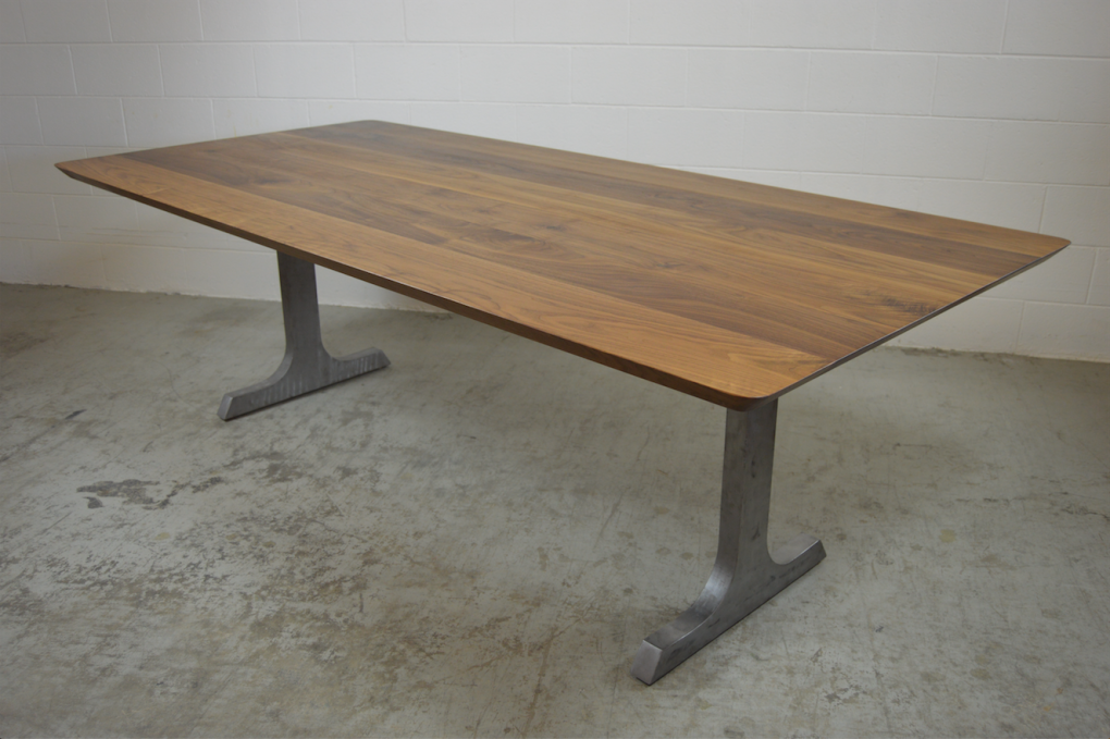 "Solid Walnut ""Flatiron"" Table on Steel I-Shape Legs"