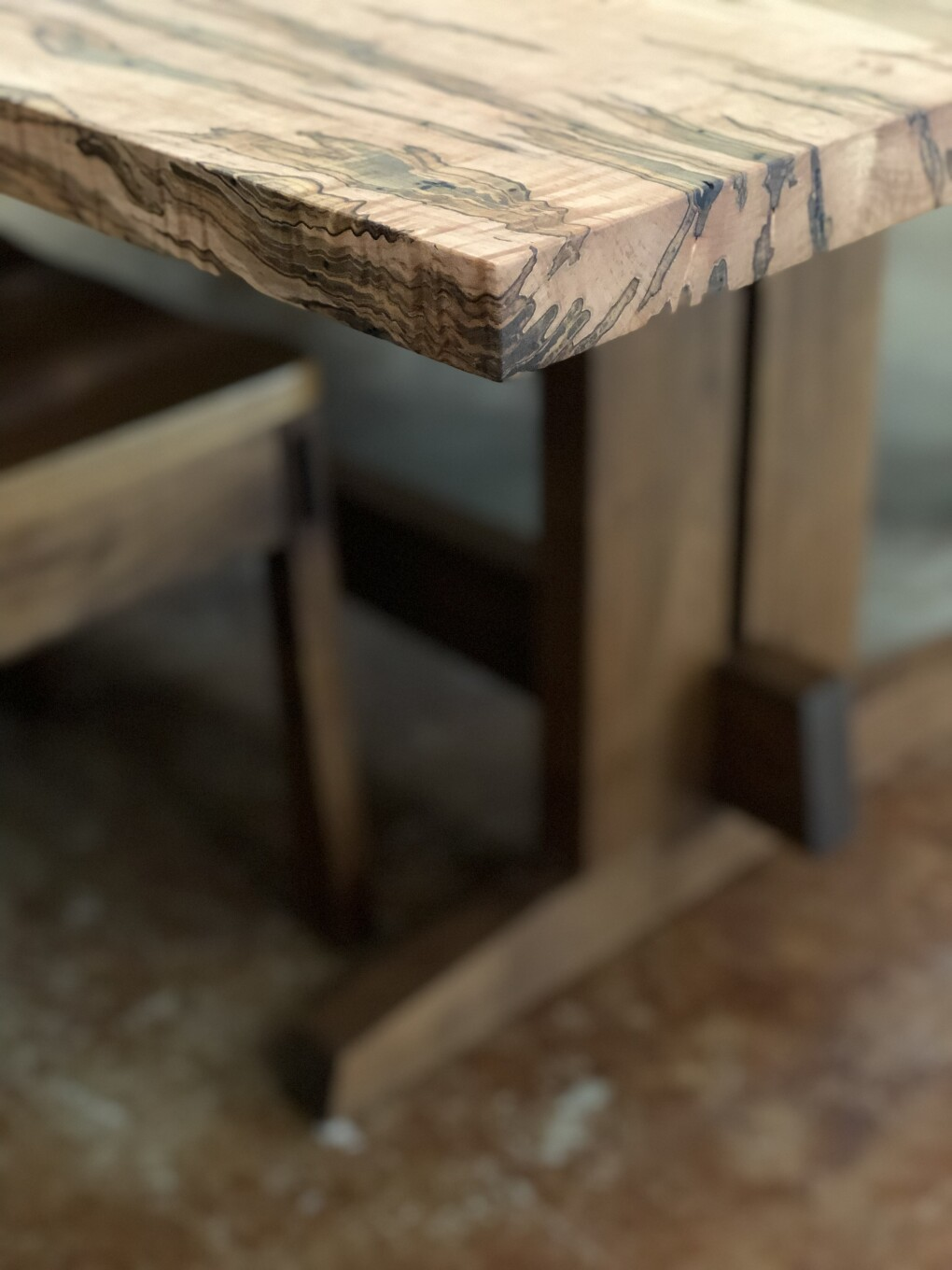 "Solid Ambrosia Maple + Walnut ""Flatiron"" Trestle Table"