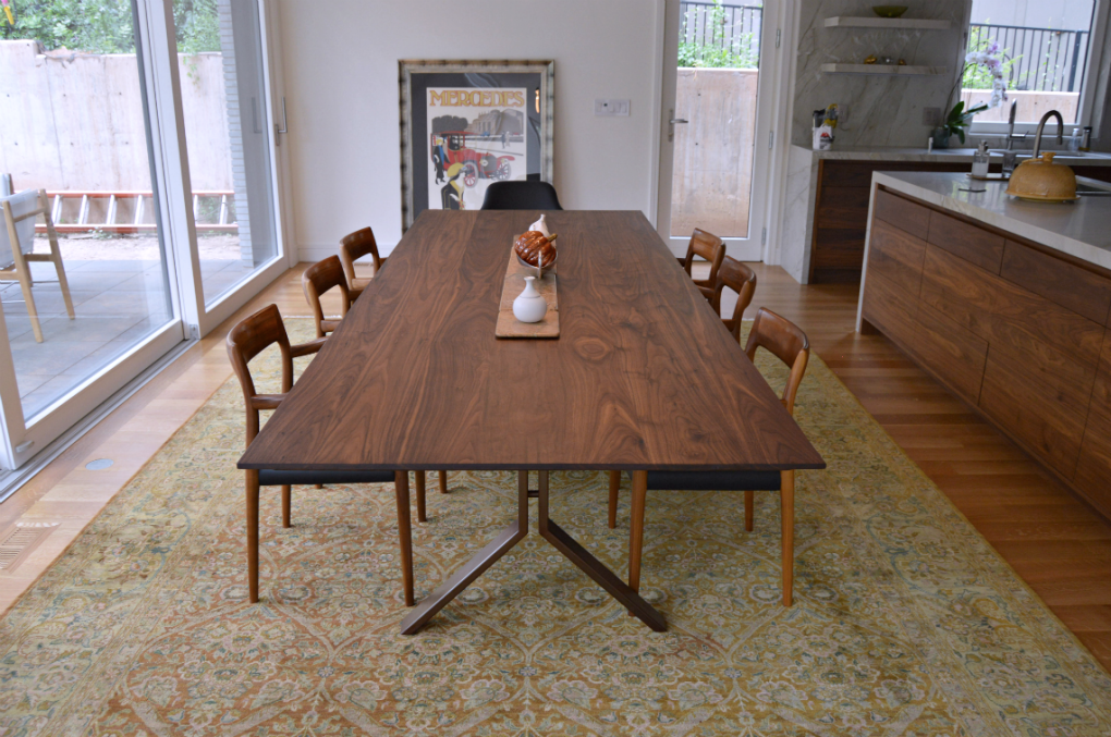 "Solid Walnut ""Flatiron"" Table on Custom Steel Base"