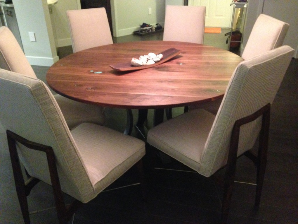 "Solid Walnut ""Flatiron"" Walnut Round Table on Custom Steel Base"