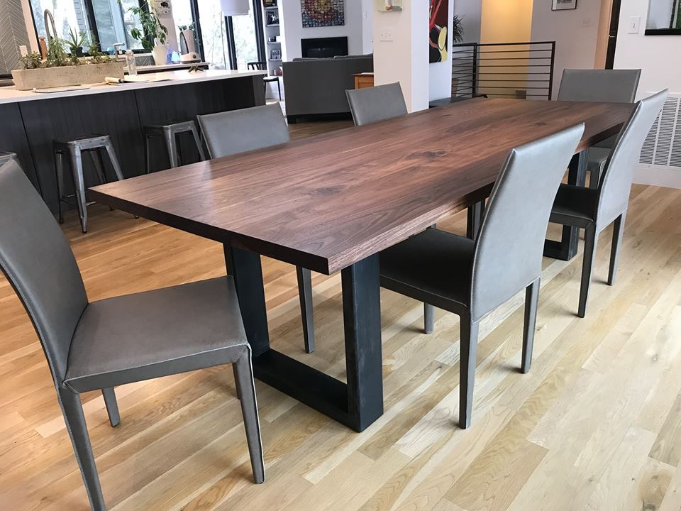 "Solid Walnut ""Flatiron"" Table on XL U-Shape Steel Legs"