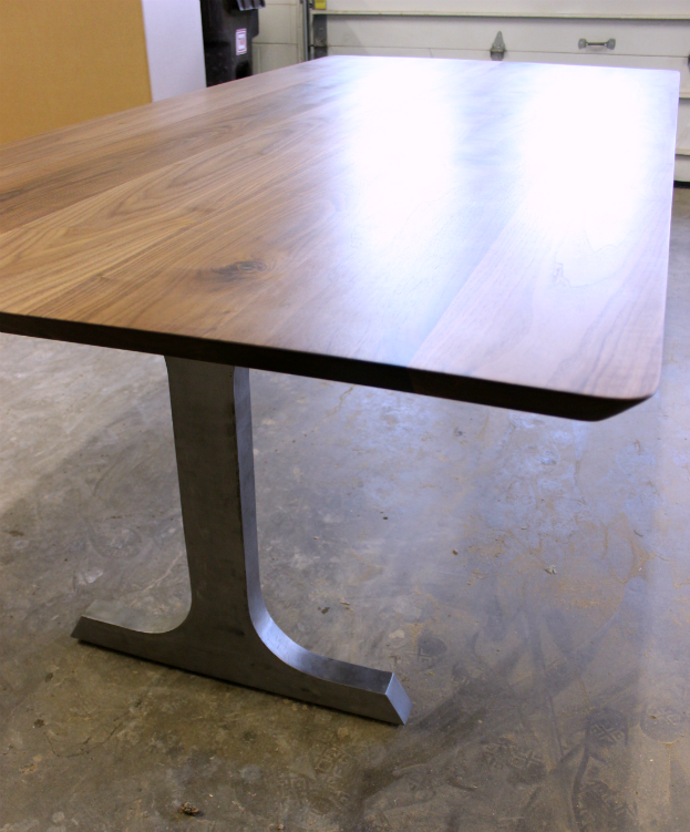 "Solid Walnut ""Flatiron"" Table on Steel Industry Legs"