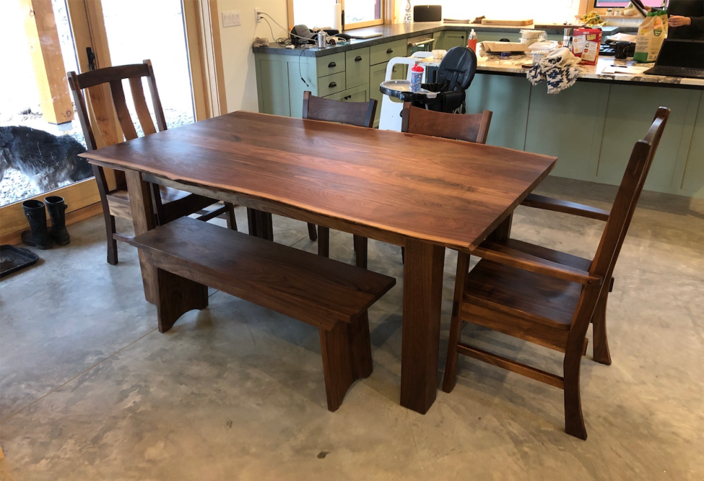 "Solid Walnut ""Flatiron"" LiveEdge Four-Leg Table"