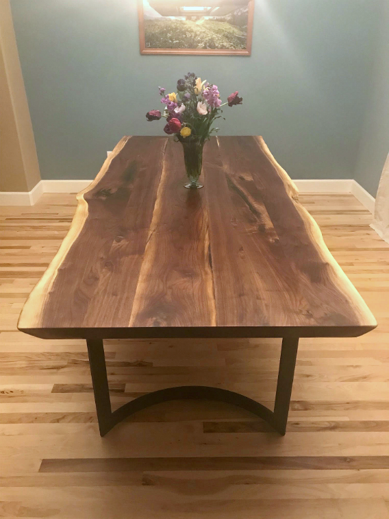 "Solid Walnut ""Flatiron"" LiveEdge Table on Steel C-Legs"