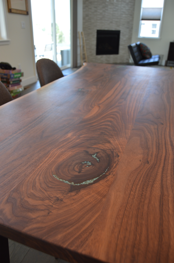 "Solid Walnut ""Flatiron"" LiveEdge Table with Turquoise Inlay + Angled Steel Legs"