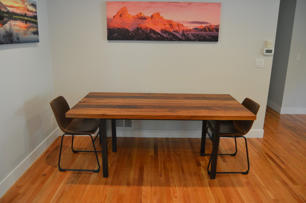 "Solid Walnut ""Flatiron"" Table on Steel Parsons Base"