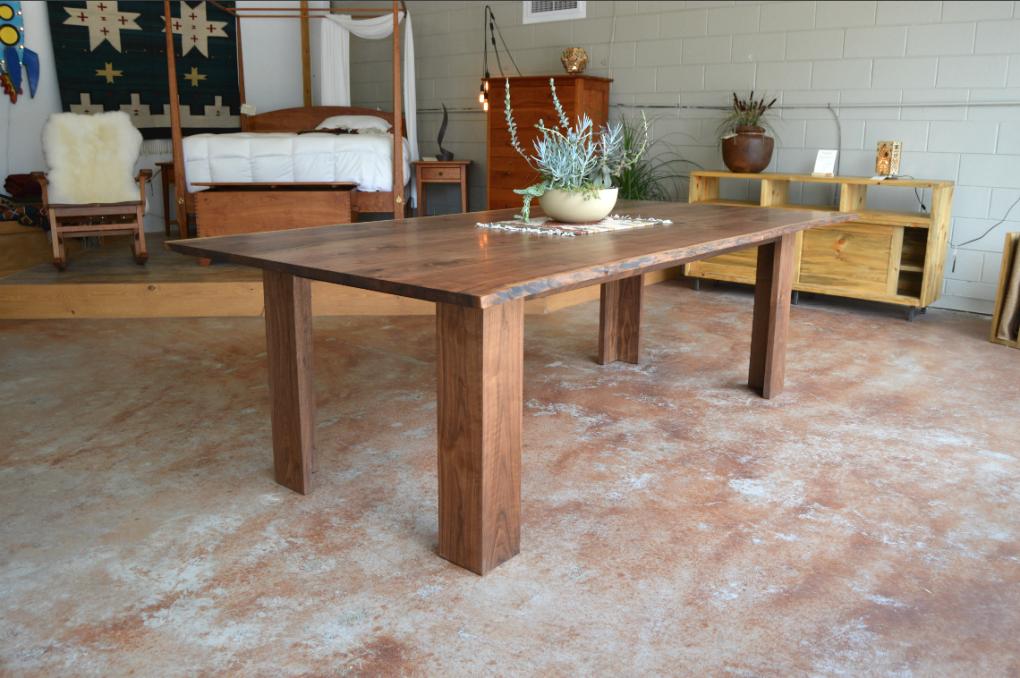 "Solid Walnut ""Flatiron"" LiveEdge Table with L-Shape Wood Legs"