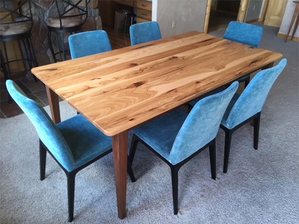 "Solid Hickory & Walnut ""Prairie"" Table with Turquoise Inlay"