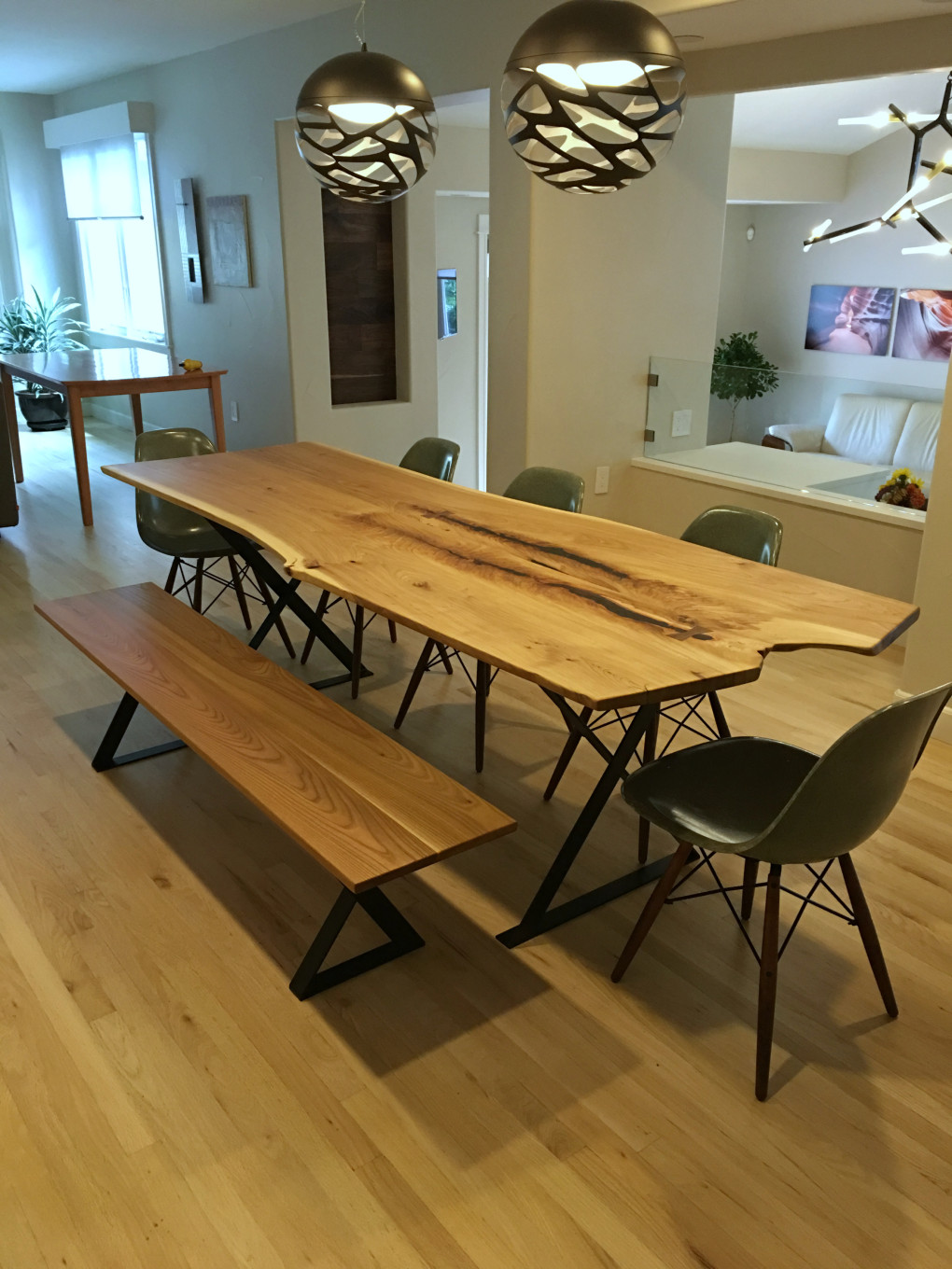 "Solid Elm ""Flatiron"" LiveEdge Table on Steel Xbox Bases"