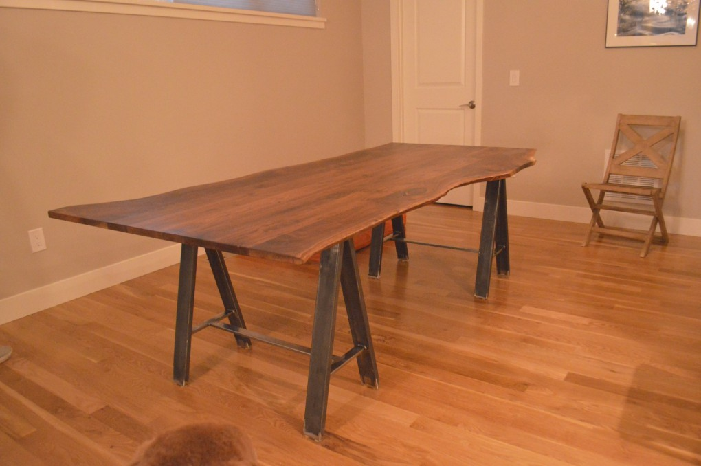 "Solid Walnut ""LiveEdge"" Table on Sawhorse Bases"