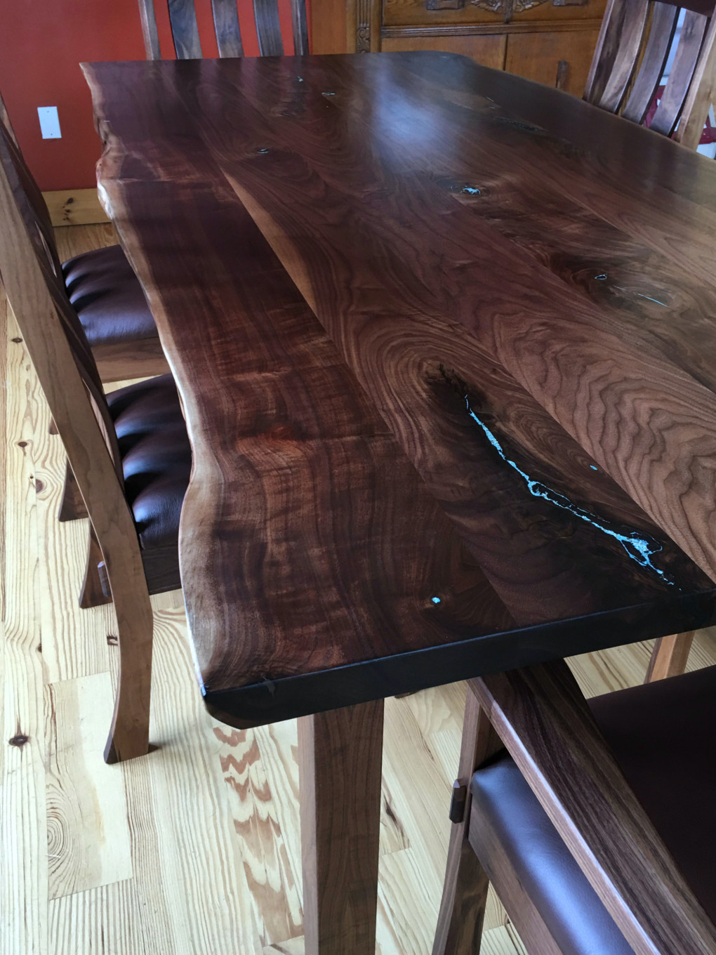 "Solid Walnut ""Mission"" LiveEdge Table with Turquoise Inlay"