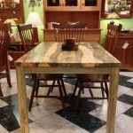 Solid Beetlekill Blue Pine Contemporary Dining Table