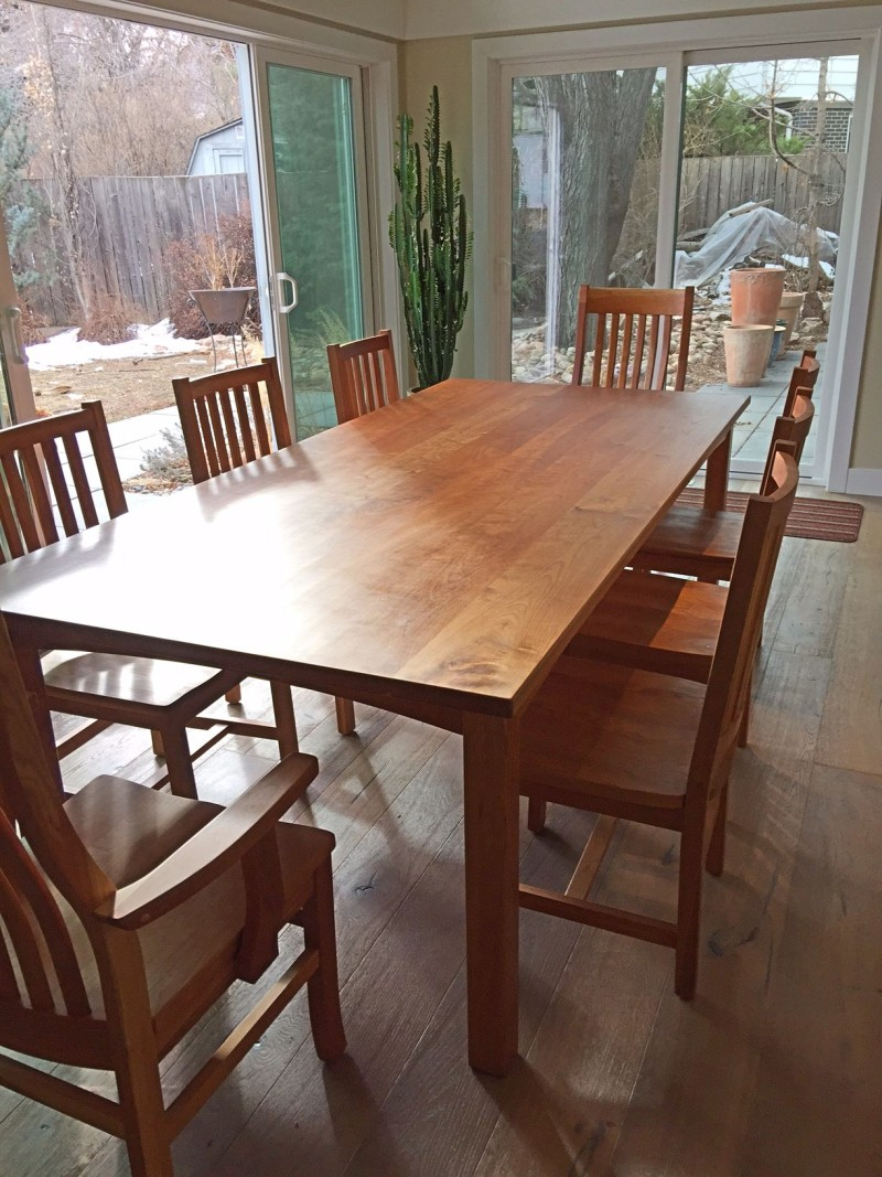 "Solid Cherry ""Prairie"" Table with Square Leg + Extra-thick Top"