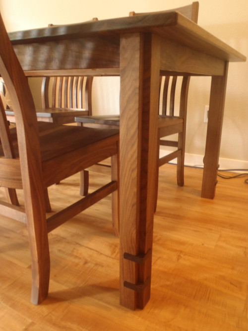 "Solid Walnut ""Mission"" Table with Custom Leg"