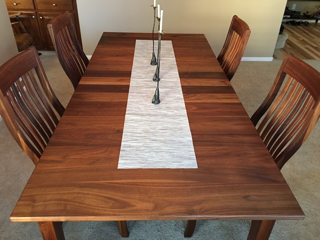 "Solid Walnut ""Mission"" Table  with Leaf"
