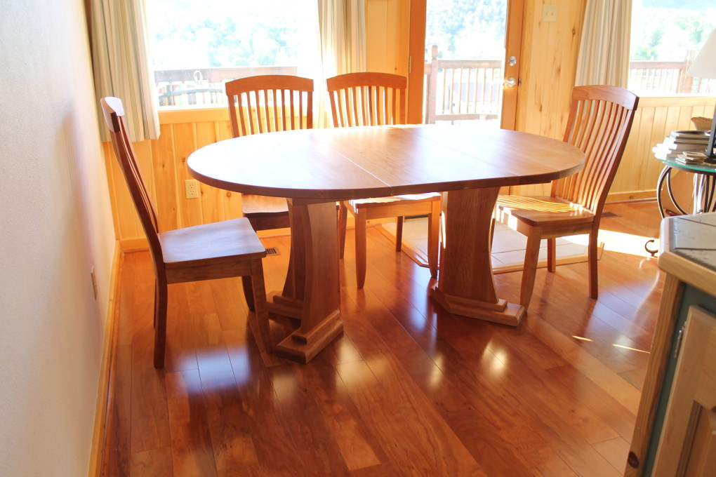 "Solid Cherry ""Craftsman"" Round Pedestal Table with Leaf"