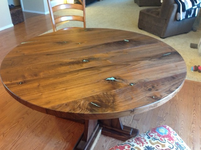 "Solid Walnut ""Craftsman"" Pedestal Table with Turquoise Inlay"