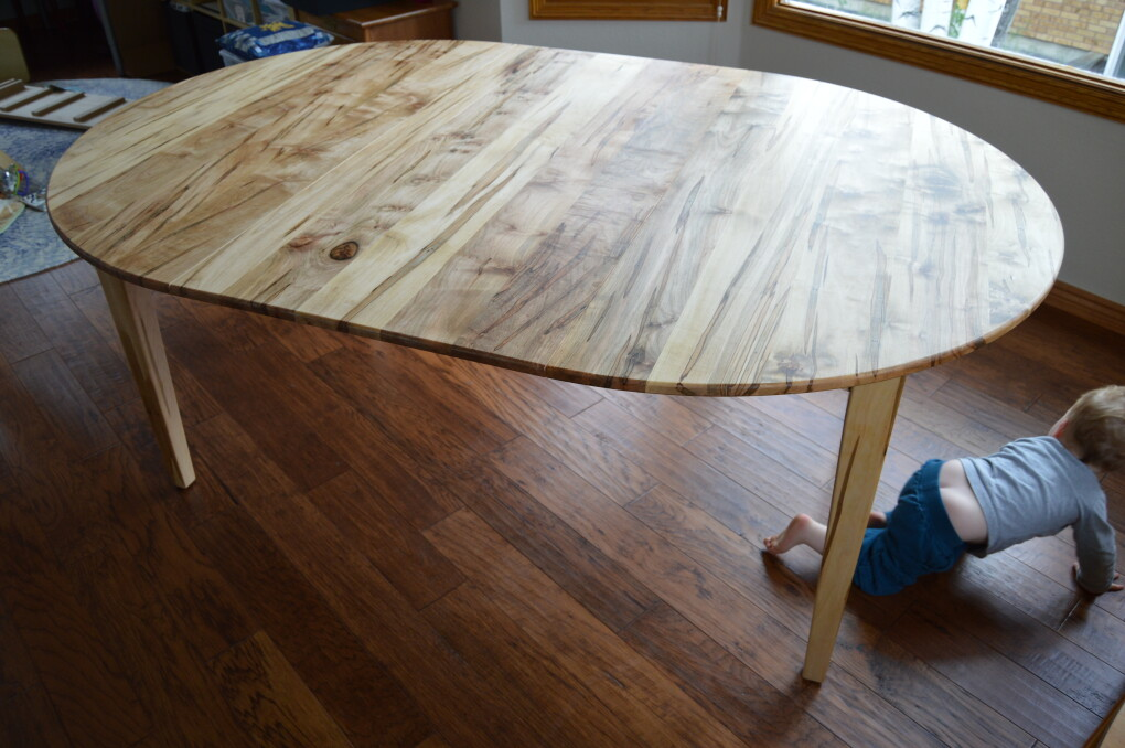 "Solid Ambrosia Maple ""Prairie"" Round Table with Leaf"