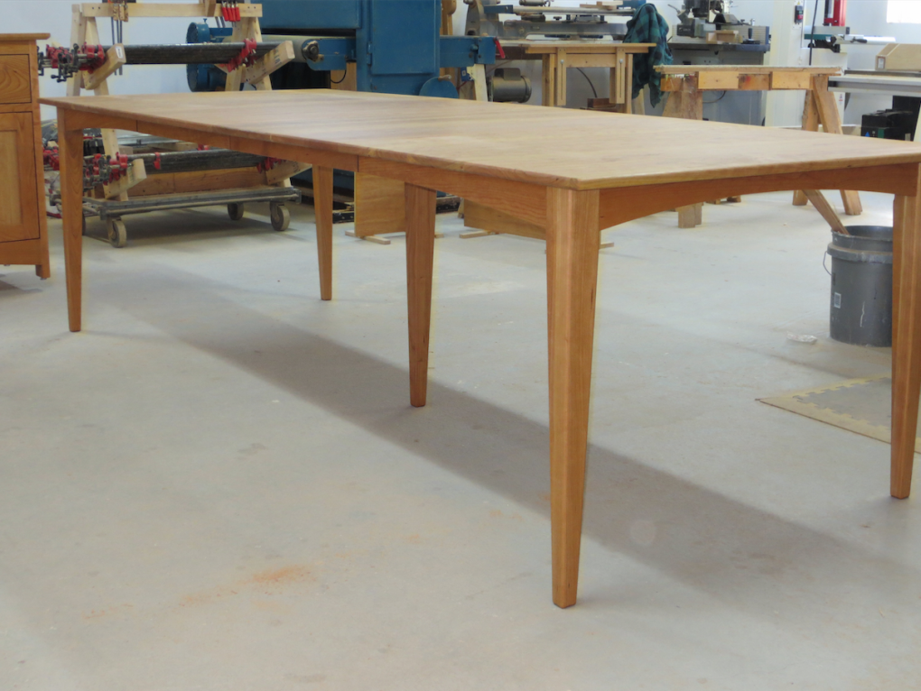 "Solid Cherry ""Prairie"" Table with Two Leaves and 5th Leg"