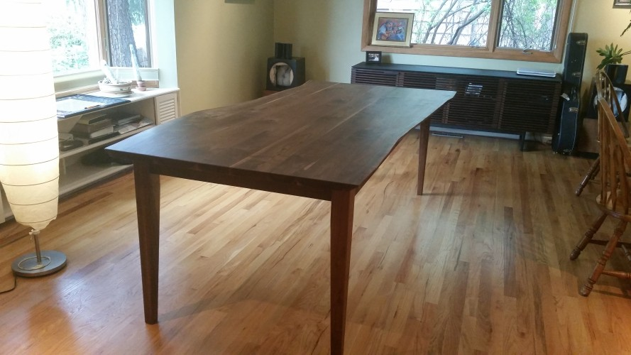 "Solid Walnut ""Prairie"" LiveEdge Table with Straight Apron"