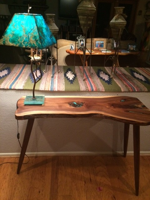 LiveEdge Walnut Console Table with Turquoise Inlay