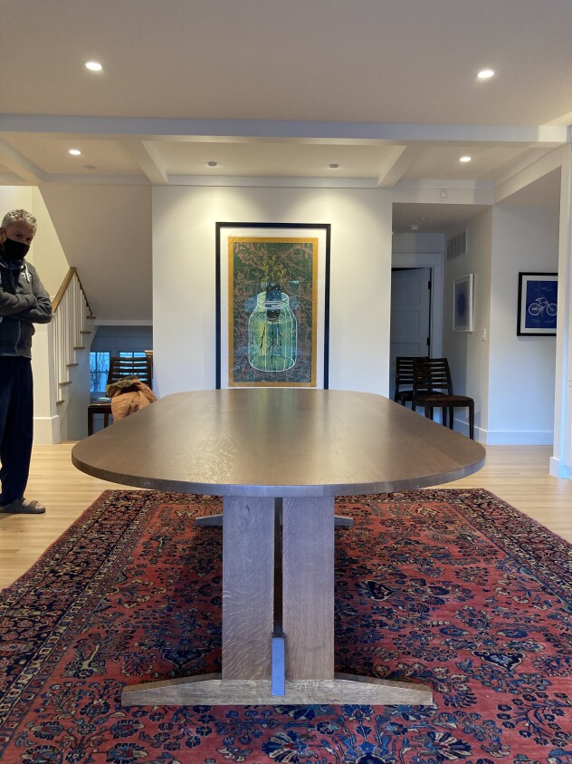 "Solid Quartersawn White Oak ""Flatiron"" Oval Trestle Table"