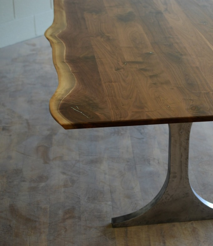"Solid Walnut ""Flatiron"" LiveEdge Table on Steel Clipse Legs"