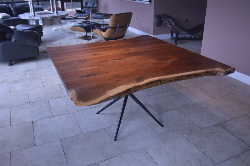 "Solid Walnut ""LiveEdge"" Table on Asterisk Base"