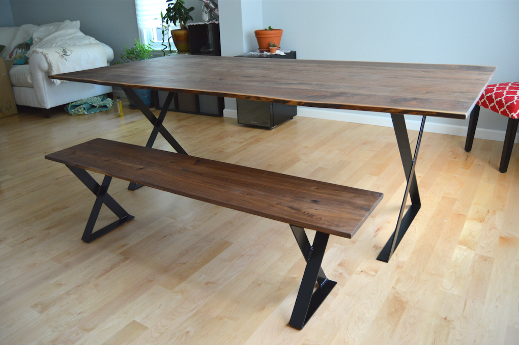 "Solid Walnut ""Flatiron"" LiveEdge Table on Steel Xbox Bases with Black Powdercoat"