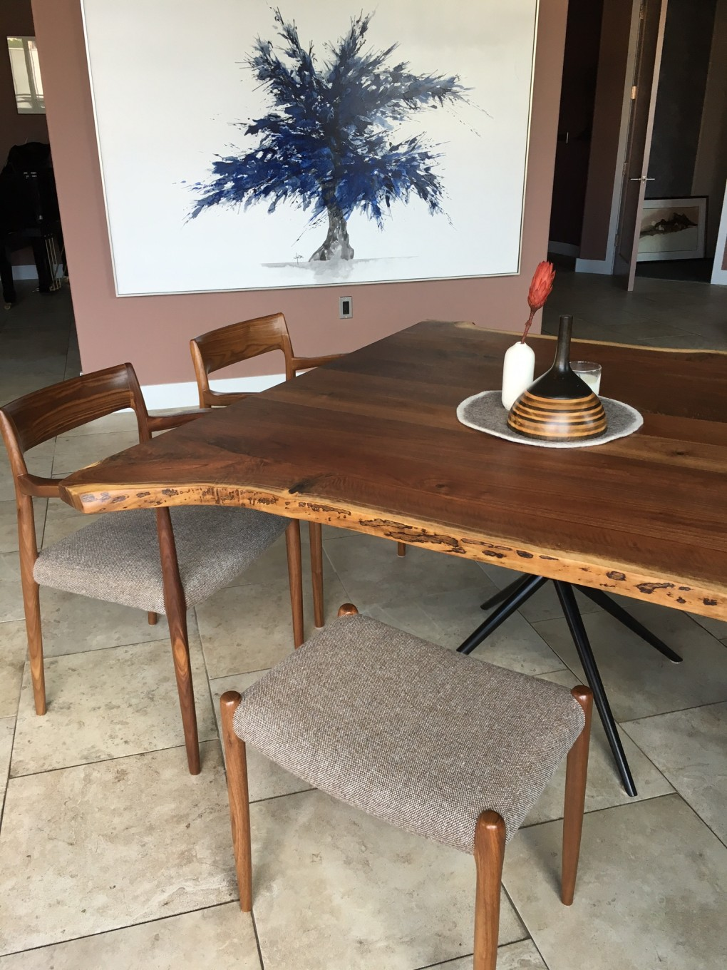 "Solid Walnut ""Flatiron"" LiveEdge Table on Steel Asterisk Base with Black Powdercoat"