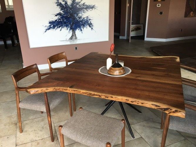 """Solid Walnut """"LiveEdge"""" Table with Asterisk Base"""
