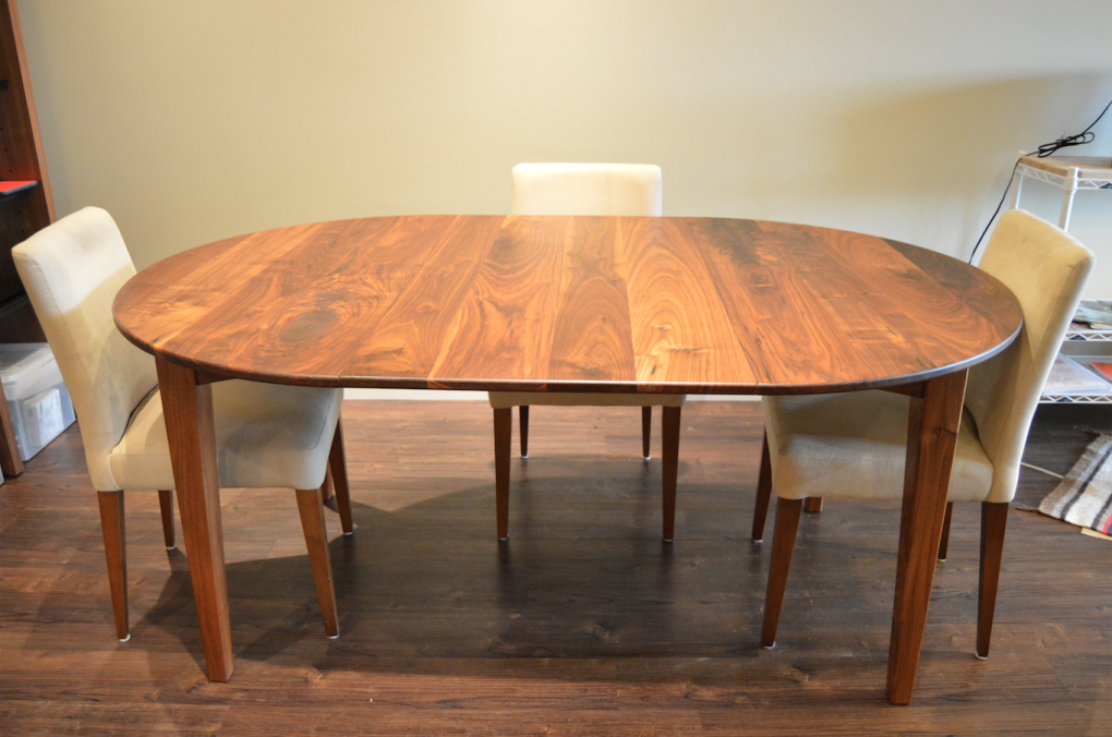 "Solid Walnut ""Prairie"" Round Table with Leaf"