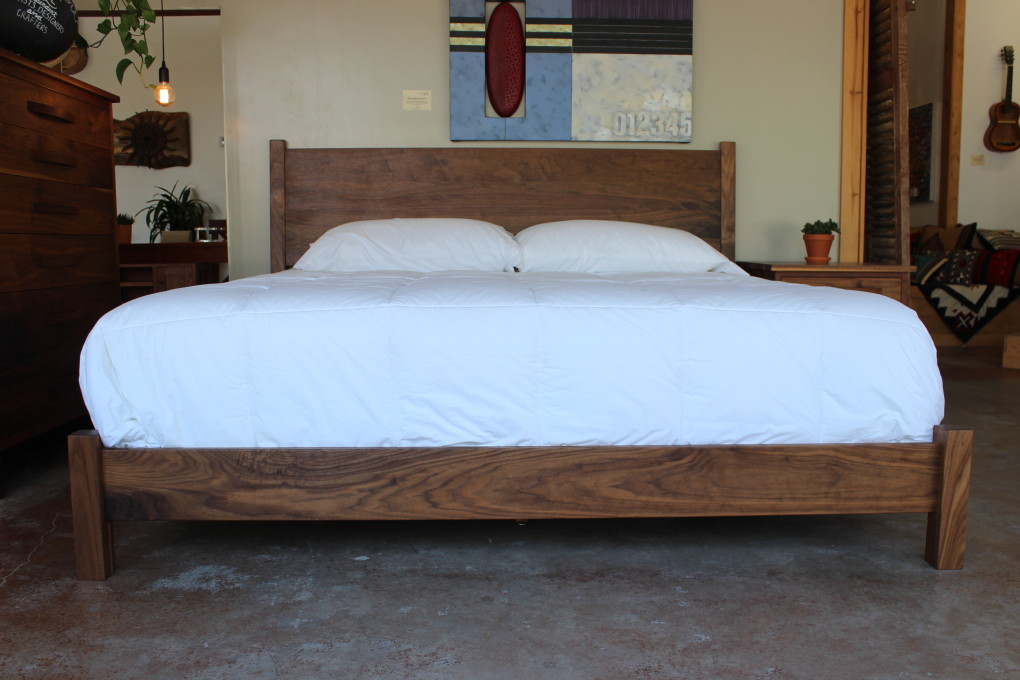 "Walnut ""Flatiron"" King Bed with Low-Profile Foot"