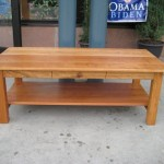 Solid Cherry Mission Coffee Table with Drawer and Shelf