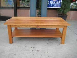 "Cherry ""Mission"" Coffee Table with Drawer and Shelf"