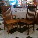 "Solid Cherry and Walnut ""Mission"" Chairs"