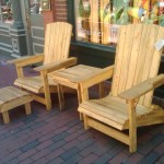 Solid Beetlekill Blue Pine Outdoor Adirondack Chairs