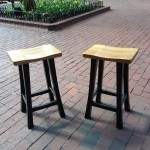 "Custom Solid Oak Low ""Mission"" Backless Stools"