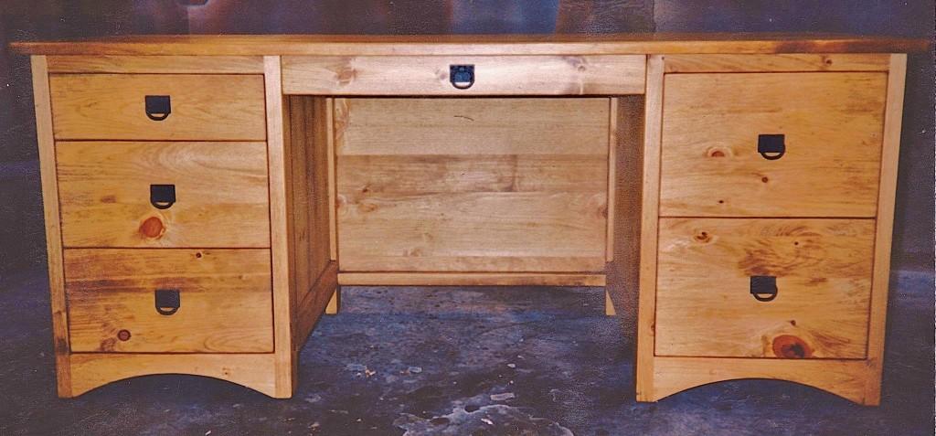 Solid Pine 6-Drawer Pedestal Desk with File Cabinets